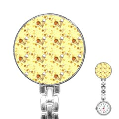 Funny Sunny Ice Cream Cone Cornet Yellow Pattern  Stainless Steel Nurses Watch by yoursparklingshop