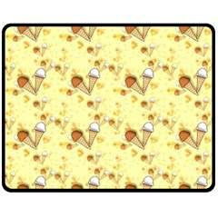 Funny Sunny Ice Cream Cone Cornet Yellow Pattern  Double Sided Fleece Blanket (medium)  by yoursparklingshop