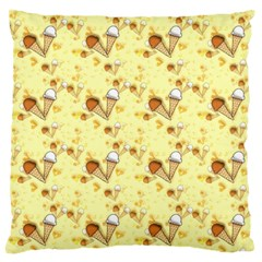 Funny Sunny Ice Cream Cone Cornet Yellow Pattern  Standard Flano Cushion Case (one Side) by yoursparklingshop