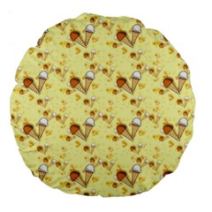 Funny Sunny Ice Cream Cone Cornet Yellow Pattern  Large 18  Premium Flano Round Cushions by yoursparklingshop