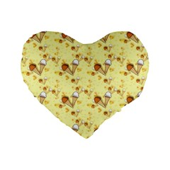 Funny Sunny Ice Cream Cone Cornet Yellow Pattern  Standard 16  Premium Flano Heart Shape Cushions by yoursparklingshop