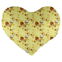 Funny Sunny Ice Cream Cone Cornet Yellow Pattern  Large 19  Premium Flano Heart Shape Cushions by yoursparklingshop