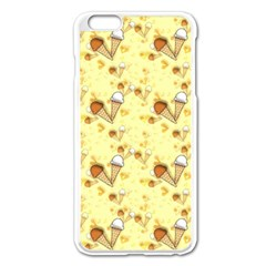 Funny Sunny Ice Cream Cone Cornet Yellow Pattern  Apple Iphone 6 Plus/6s Plus Enamel White Case by yoursparklingshop