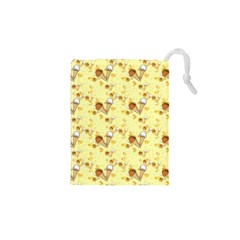 Funny Sunny Ice Cream Cone Cornet Yellow Pattern  Drawstring Pouches (xs)  by yoursparklingshop