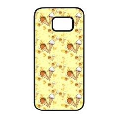 Funny Sunny Ice Cream Cone Cornet Yellow Pattern  Samsung Galaxy S7 Edge Black Seamless Case by yoursparklingshop