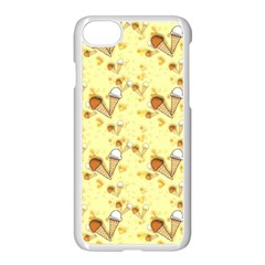 Funny Sunny Ice Cream Cone Cornet Yellow Pattern  Apple Iphone 7 Seamless Case (white) by yoursparklingshop