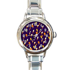 Ice Cream Cone Cornet Blue Summer Season Food Funny Pattern Round Italian Charm Watch by yoursparklingshop
