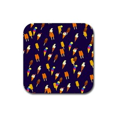 Ice Cream Cone Cornet Blue Summer Season Food Funny Pattern Rubber Square Coaster (4 Pack)  by yoursparklingshop