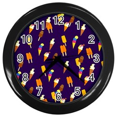 Ice Cream Cone Cornet Blue Summer Season Food Funny Pattern Wall Clocks (black) by yoursparklingshop