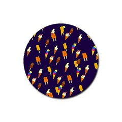 Ice Cream Cone Cornet Blue Summer Season Food Funny Pattern Rubber Round Coaster (4 Pack)  by yoursparklingshop