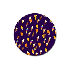 Ice Cream Cone Cornet Blue Summer Season Food Funny Pattern Magnet 3  (round) by yoursparklingshop