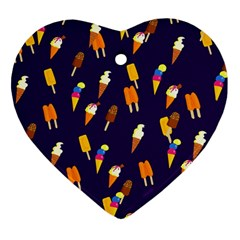 Ice Cream Cone Cornet Blue Summer Season Food Funny Pattern Heart Ornament (two Sides) by yoursparklingshop