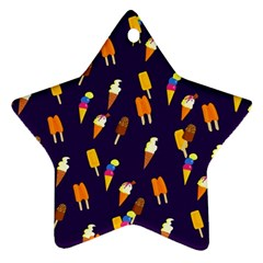 Ice Cream Cone Cornet Blue Summer Season Food Funny Pattern Star Ornament (two Sides) by yoursparklingshop