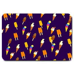 Ice Cream Cone Cornet Blue Summer Season Food Funny Pattern Large Doormat  by yoursparklingshop