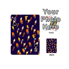 Ice Cream Cone Cornet Blue Summer Season Food Funny Pattern Playing Cards 54 (mini)  by yoursparklingshop