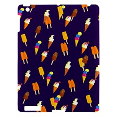Ice Cream Cone Cornet Blue Summer Season Food Funny Pattern Apple Ipad 3/4 Hardshell Case by yoursparklingshop