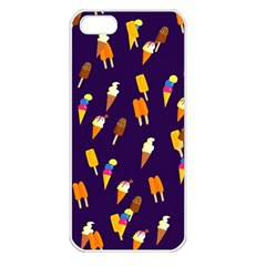 Ice Cream Cone Cornet Blue Summer Season Food Funny Pattern Apple Iphone 5 Seamless Case (white) by yoursparklingshop