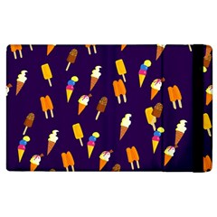 Ice Cream Cone Cornet Blue Summer Season Food Funny Pattern Apple Ipad 2 Flip Case by yoursparklingshop