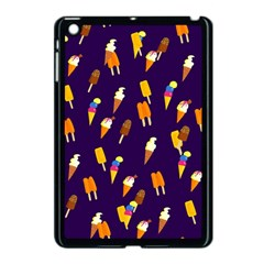 Ice Cream Cone Cornet Blue Summer Season Food Funny Pattern Apple Ipad Mini Case (black) by yoursparklingshop
