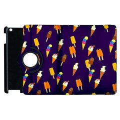 Ice Cream Cone Cornet Blue Summer Season Food Funny Pattern Apple Ipad 3/4 Flip 360 Case by yoursparklingshop