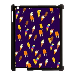 Ice Cream Cone Cornet Blue Summer Season Food Funny Pattern Apple Ipad 3/4 Case (black) by yoursparklingshop