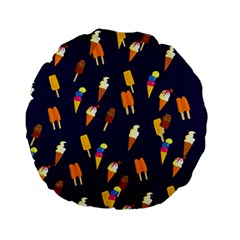 Ice Cream Cone Cornet Blue Summer Season Food Funny Pattern Standard 15  Premium Round Cushions by yoursparklingshop