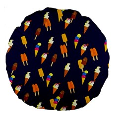 Ice Cream Cone Cornet Blue Summer Season Food Funny Pattern Large 18  Premium Round Cushions by yoursparklingshop
