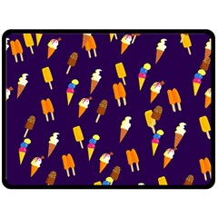 Ice Cream Cone Cornet Blue Summer Season Food Funny Pattern Double Sided Fleece Blanket (large)  by yoursparklingshop