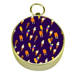 Ice Cream Cone Cornet Blue Summer Season Food Funny Pattern Gold Compasses by yoursparklingshop