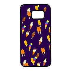 Ice Cream Cone Cornet Blue Summer Season Food Funny Pattern Samsung Galaxy S7 Black Seamless Case by yoursparklingshop