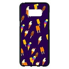 Ice Cream Cone Cornet Blue Summer Season Food Funny Pattern Samsung Galaxy S8 Plus Black Seamless Case by yoursparklingshop
