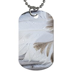 Feather Brown Gray White Natural Photography Elegant Dog Tag (one Side) by yoursparklingshop