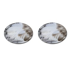 Feather Brown Gray White Natural Photography Elegant Cufflinks (oval) by yoursparklingshop