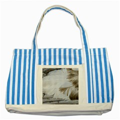 Feather Brown Gray White Natural Photography Elegant Striped Blue Tote Bag by yoursparklingshop