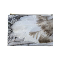 Feather Brown Gray White Natural Photography Elegant Cosmetic Bag (large)  by yoursparklingshop