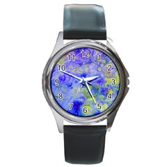 Abstract Blue Texture Pattern Round Metal Watch