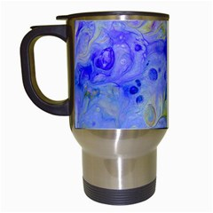 Abstract Blue Texture Pattern Travel Mugs (white) by Simbadda