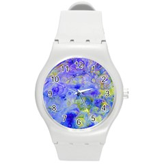 Abstract Blue Texture Pattern Round Plastic Sport Watch (m) by Simbadda