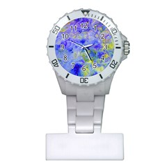 Abstract Blue Texture Pattern Plastic Nurses Watch by Simbadda