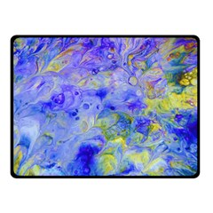 Abstract Blue Texture Pattern Double Sided Fleece Blanket (small)