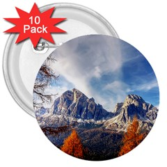 Dolomites Mountains Italy Alpine 3  Buttons (10 Pack)  by Simbadda