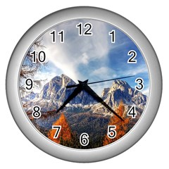 Dolomites Mountains Italy Alpine Wall Clocks (silver)