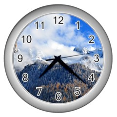 Mountains Alpine Nature Dolomites Wall Clocks (silver)