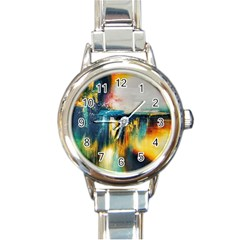Art Painting Abstract Yangon Round Italian Charm Watch