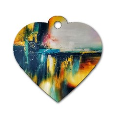 Art Painting Abstract Yangon Dog Tag Heart (one Side)