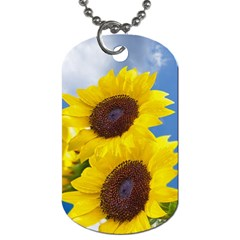 Sunflower Floral Yellow Blue Sky Flowers Photography Dog Tag (one Side) by yoursparklingshop