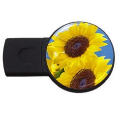 Sunflower Floral Yellow Blue Sky Flowers Photography Usb Flash Drive Round (4 Gb) by yoursparklingshop