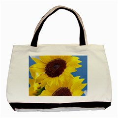 Sunflower Floral Yellow Blue Sky Flowers Photography Basic Tote Bag (two Sides) by yoursparklingshop