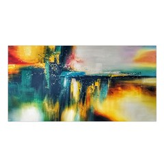 Art Painting Abstract Yangon Satin Shawl by Simbadda
