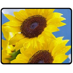Sunflower Floral Yellow Blue Sky Flowers Photography Double Sided Fleece Blanket (medium)  by yoursparklingshop